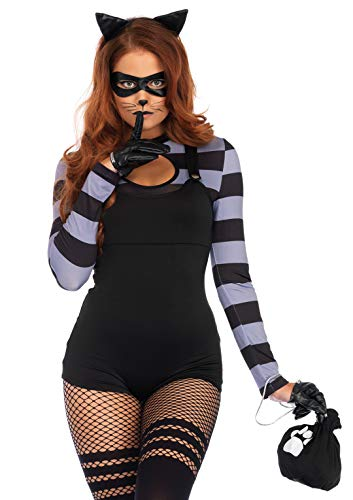 Cat Lady Halloween Costume (Leg Avenue Womens 4 Pc Cat Burglar Halloween Costume, Black,)