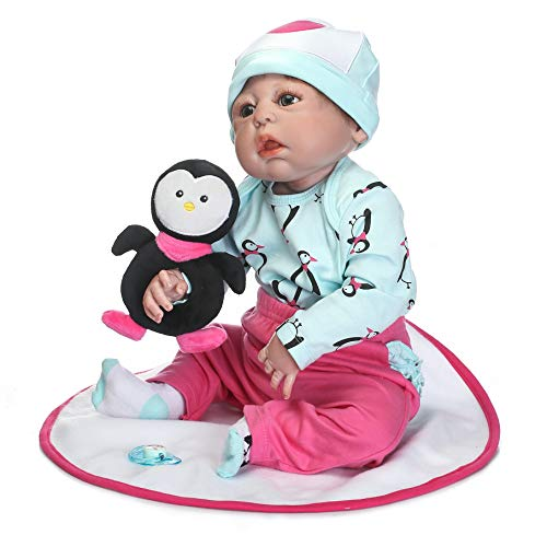 Leaysoo 22 inch Penguin Clothes Reborn Baby Dolls Silicone Full Body Kids Gift for Ages 3+Play House - Body Penguin Full