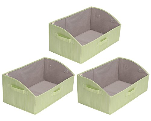 Storage Bins, Fabric storage Baskets, Foldable Closet Organizer Trapezoid Storage Box By StorageWorks, Bamboo Style, Green, EX-Jumbo, 3-Pack