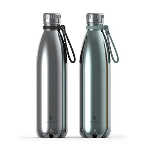 Manna Vogue Double-Wall Insulated Bottles, Stainless Steel and Ice, Set of 2