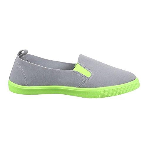 Ital-Design Damen Schuhe, 542-Y, Halbschuhe Slipper Freizeitschuhe Grau