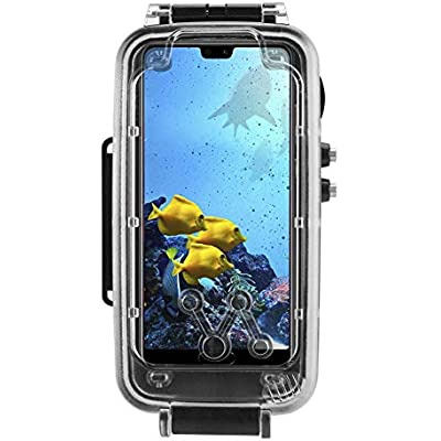ASHATA For Huawei P20 P20 Pro Dive Case   Drop Protection  ABS Clear Ultra-Thin Case Cover Underwater Diving Case with 32mm Adapter Ring Overall Protection for Huawei P20 P20 Pro Black
