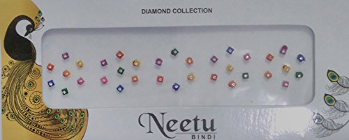 12 Pack Neetu Diamond Collection Square Shape Multi Colour Bridal Collection Bindi For Women (BN-9) by Yuktha Eternals