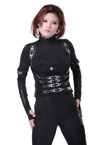 [Deluxe Tactical Outfit with Umbrella Pin for Women's Halloween Costume XS] (Resident Evil 5 Alice Costume)