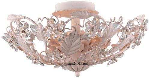 Crystorama Round Chandelier - Crystorama 5316-BH, Abbie Round Crystal Semi Flush Ceiling Lighting, 6 Light, 360 Total Watts, Blush