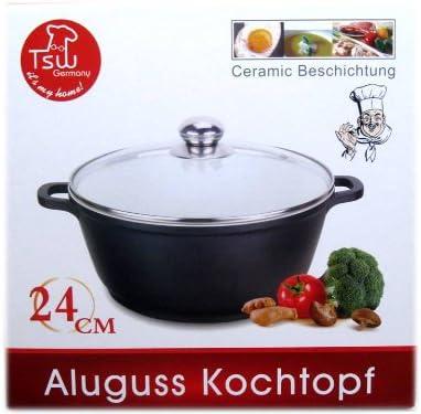 Aluguss Topf Kochtopf Fleischtopf Gemüsetopf mit Glasdeckel Schmortopf
