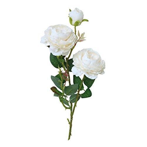 Long Lilies Calla Pink Stem (Yeefant Western Rose Peony Flower Silk Bouquet Bridal Hydrangea for Home Garden Wedding Living Room Sweet Decor,Total Length 24 Inch,Flower 3.4 Inch,White)