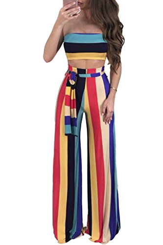 Cutedi Womens Sexy Multi Stripe Print Bodycon Strapless 2 Piece Outfits Jumpsuits Tube Crop Top and Wide Leg Long Pants Set Light Red S for $<!--$21.88-->