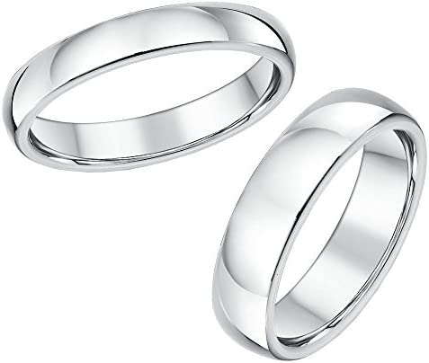 Titanium Engagement Ring /& His /& Hers 4/&6mm Court Shaped Wedding Bands