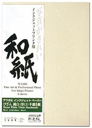 Awagami Bizan White Thick Handmade Fine Art Inkjet Paper, 300gsm A1 (23.99'' x 33.11'') 5 Sheets by Awagami