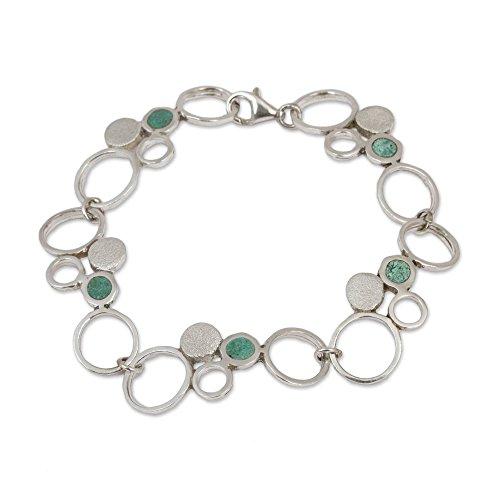 NOVICA Reconstituted Turquoise .925 Sterling Silver Link Bracelet, 7.5