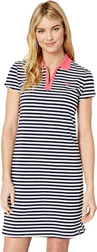 U.S. Polo Assn. Women's Short Sleeve Zip Stripe Dress Evening Blue Large