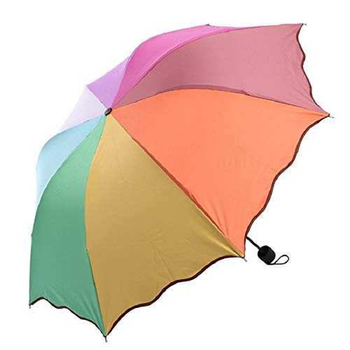 Umbrellas - Rainbow Lotus Leaf Shape Umbrella Rain Women Paraguas 3 Folding Mini Sun Umbrella Kids Sun Protection Rain Gear (Sunny Rainbow Nylon Umbrella Parasols)