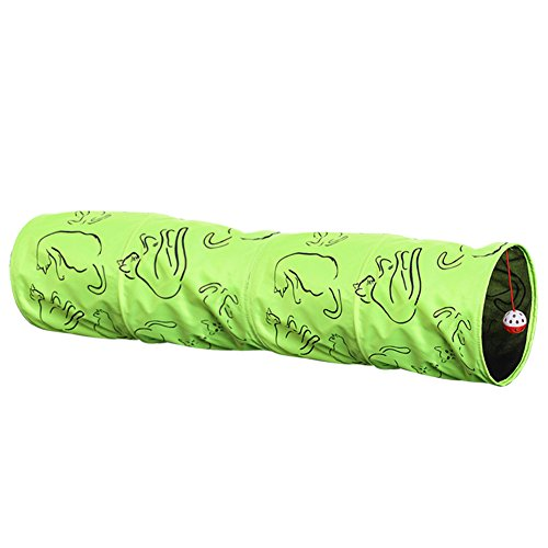 (Zehui 3-Layer Fluorescent-green Folding Cat Tunnel and Playmat with Sound Pet Toy Nest (Including a Ball) 2010