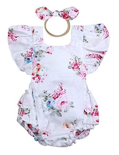 Baptism Baby Clothes - Baby Girl Romper Bodysuits Lace Flutter Sleeveless Bowknot Jumpsuit Outfits Clothes (Floral, 12-18 Months)