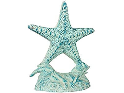 "Rustic Cast Iron White and Blue Starfish Doorstop 10"" - Decorative Nautical Doorstop"