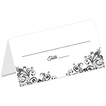 Jot Mark Place Cards 50 Count Formal Black White Table Tents