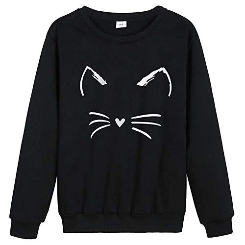 Women's Cute Cat Hoodie Sweatshirt Teen Girl Interesting Tops Hoodies Funny Hooded Pullover (L, Black 3)