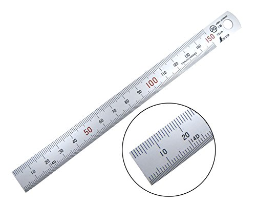Shinwa H-101A 150 mm Rigid (15 mm x 0.5 mm) Zero Glare Satin Chrome Stainless Steel Machinist Engineer Ruler / Rule with Graduations in mm and .5 mm ()