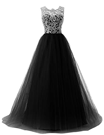 Fanmu Womens A-Line Straps Lace Bodice Prom Dress Formal Gowns Size 6 UK Black