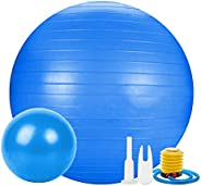 Jueachy Yoga Ball Professional Balance Ball(55-65cm) with Extra Pilates Exercise Ball for Sports Stability Hom