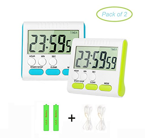 Digital Kitchen Timer PJS-MAX 24 Hour Cooking Timer Clock with Clear LCD Display Loud Alarm Magnetic Back and Retractable Stand (Blue and Green) (Hour Kitchen Timers compare prices)