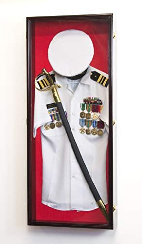 Military-Shadow-Box-Display-Case-Uniform-Cap-Hat-Sword-Medals-Cabinet-Wall-Frame-Lockable-Cherry-Finish-Red-Felt-Background