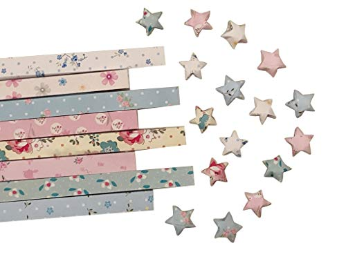 MasterChinese Origami Stars Papers Package - Light Flower - 8 Colors 400 Sheets - with Instruction