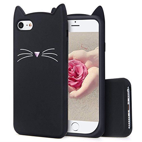 (TopSZ Black Cat Case for iPod Touch 6th 5,Silicone 3D Cartoon Animal Cover,Kids Girls Teens Boys Animated Kitty Design Cool Cute Kawaii Soft Rubber Funny Unique Character Cases for iPod 5th Generation)