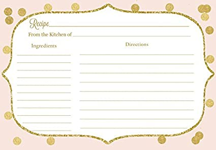 Recipe Cards Bridal Shower Pink And Gold Confetti Bubbly Blush