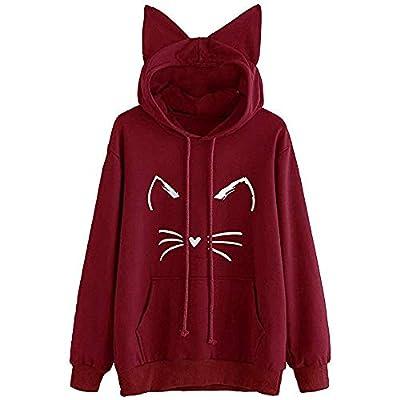 iHPH7 Womens Cat Ear Solid Long Sleeve Hoodie Sweatshirt Hooded Pullover Tops