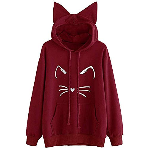 CUCUHAM Womens Cat Ear Solid Long Sleeve Hoodie Sweatshirt Hooded Pullover Tops Blouse(Wine ,US:6/CN:S) -
