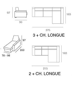 MR muñoz robles Sofá 3 plazas + Chaise Longue Modelo Maia, Color Cordoba-102: Amazon.es: Hogar
