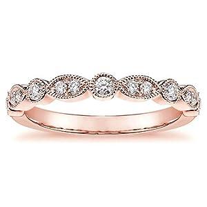 0.30 CT Round Diamond Wedding Band in 14k Rose Gold Bezel & Pave Setting - Size 8.5