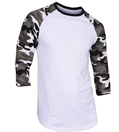DREAM USA Men's Casual 3/4 Sleeve Baseball Tshirt Raglan Jersey Shirt Light Camo Large (Sport 3/4 Sleeve Shirt Long Sleeve)