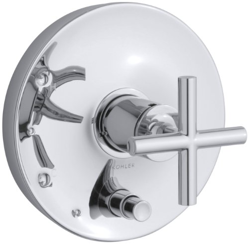 Purist One Handle Valve - KOHLER K-T14501-3-CP Purist Rite-Temp Pressure-Balancing Valve Trim with Cross Handles, Polished Chrome