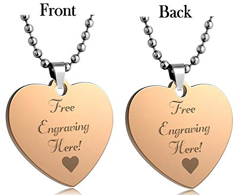 Interway Trading Personalized Regular Size Custom Message Engraved Stainless Steel Necklace Dog Tag Pendant with 24 inch Chain,Velvet Giftpouch and Keyring (Heart -