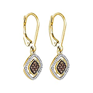 Cognac and White Diamond Dangle Earrings in 10K Yellow Gold (1/3 cttw)