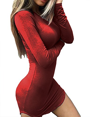 - Haola Women's Sexy Bodycon Tight Long Sleeve Mini T Shirts Dresses Irregular Hem M WineRed