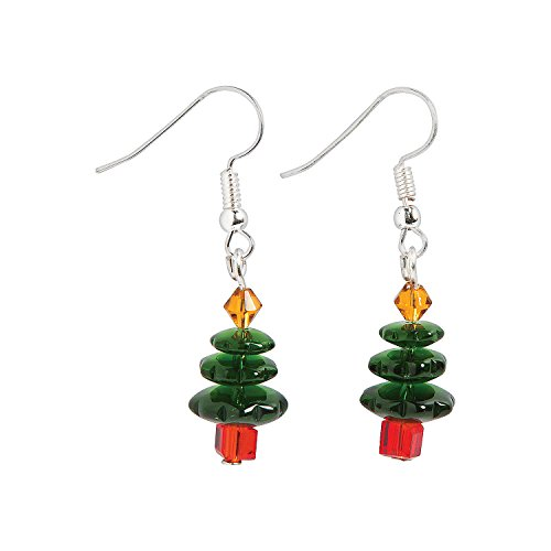 Fun Express - Dark Green Christmas Tree Earring ck for Christmas - Craft Kits - Adult Jewelry Craft Kits - Adult Earring - Christmas - 6 Pieces