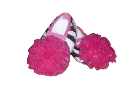 Zebra Print Baby Crib Shoes, Attached Hot Pink Chiffon Tutu Flower, 3 Sizes Listed Below, Infant (12)