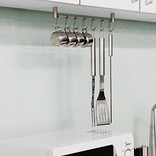 HOMFA Kitchen Rail Rack Wall Mounted Utensil Hanging Rack Stainless Steel Hanger Hooks for Kitchen Tools, Pot, Towel (7 Sliding Hooks) by Homfa (Image #5)