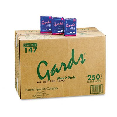 HOSPITAL SPECIALTY Gards Maxi Pads, #4, 250 Individually Boxed Napkins/carton (Case of 2)