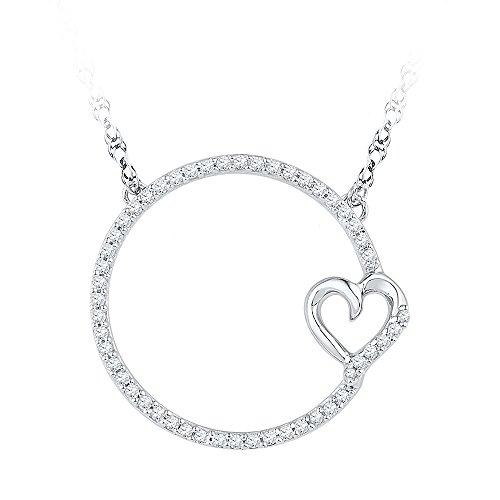 10k Gold Circle Heart Pendant - Roy Rose Jewelry 10K White Gold Ladies Diamond Circle Heart Pendant Necklace 1/5 Carat tw