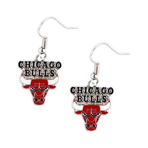 aminco Chicago Bulls Dangle Logo Earring Set Nba Charm Gift (Chicago Bulls Earrings For Men)