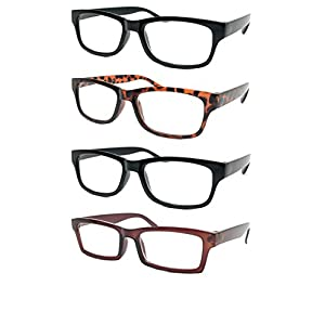 WebDeals - Reading Glasses Set of 4 Bold Classic Rectangle Frame Cheetah Readers (2 Black, 1 Tortoise Brown, 1 Brown, 2.00)