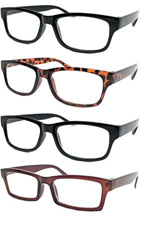WebDeals - Reading Glasses Set of 4 Bold Classic Rectangle Frame Cheetah Readers (2 Black, 1 Tortoise Brown, 1 Brown, - Clean Glasses Frames