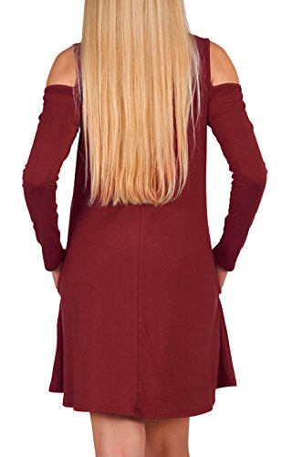 Sleeve Neck Dresses Long Women's Off Casual Tshirt Red Aierbulu Wine Cross Shoulder Dress x8Ywq6wn1