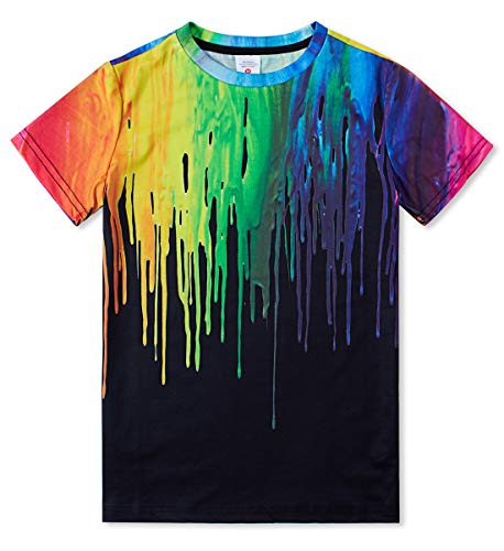 Funnycokid Boys Girls Short Sleeve Tee (Kids/Child/Teens/Youth) 3D Colorful Ink Funny T Shirt Black L