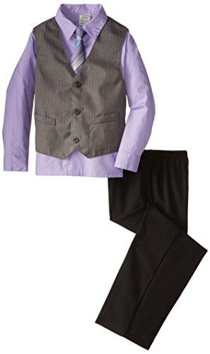 (Perry Ellis Little Boys' Track Stripe Vest Set, Lavender, 05)
